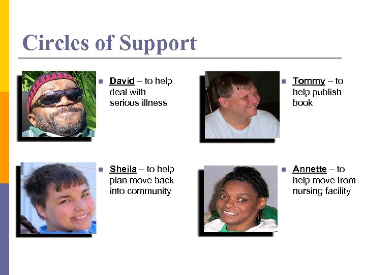 Circles of Support n David – to help deal with serious illness n Tommy