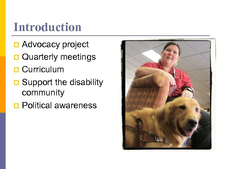 Introduction Advocacy project p Quarterly meetings p Curriculum p Support the disability community p