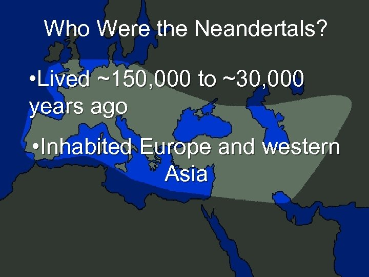 Who Were the Neandertals? • Lived ~150, 000 to ~30, 000 years ago •
