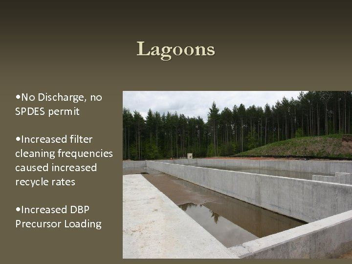 Lagoons • No Discharge, no SPDES permit • Increased filter cleaning frequencies caused increased