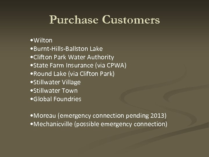 Purchase Customers • Wilton • Burnt-Hills-Ballston Lake • Clifton Park Water Authority • State