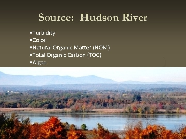Source: Hudson River • Turbidity • Color • Natural Organic Matter (NOM) • Total