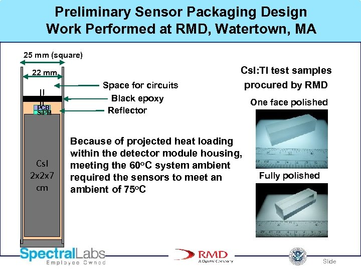 Preliminary Sensor Packaging Design Work Performed at RMD, Watertown, MA 25 mm (square) 22