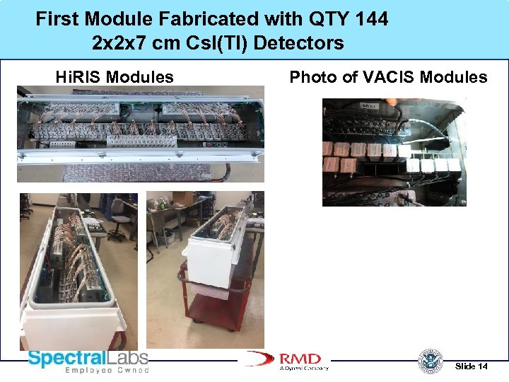 First Module Fabricated with QTY 144 2 x 2 x 7 cm Cs. I(Tl)