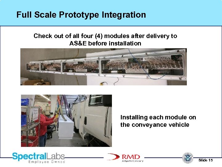 Full Scale Prototype Integration Check out of all four (4) modules after delivery to