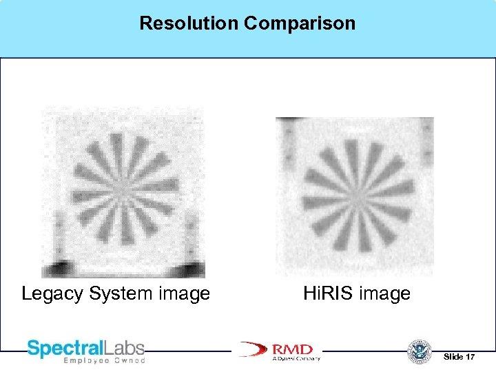 Resolution Comparison Legacy System image Hi. RIS image Slide 17