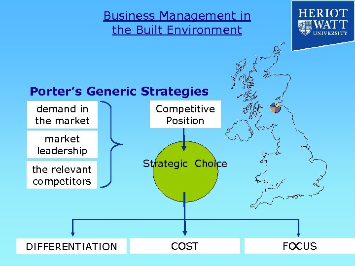 Business Management in the Built Environment Porter's Generic Strategies demand in the market Competitive