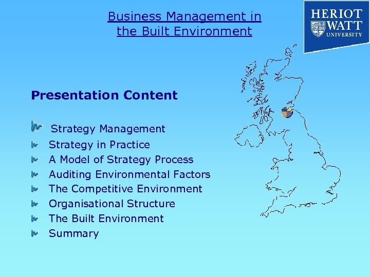 Business Management in the Built Environment Presentation Content Strategy Management Strategy in Practice A