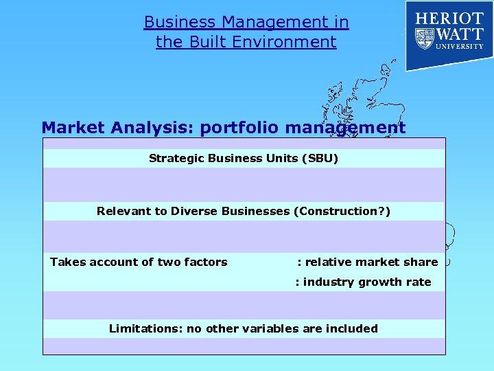 Business Management in the Built Environment Market Analysis: portfolio management Strategic Business Units (SBU)