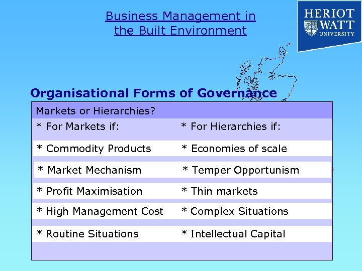 Business Management in the Built Environment Organisational Forms of Governance Markets or Hierarchies? *
