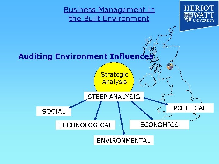 Business Management in the Built Environment Auditing Environment Influences Strategic Analysis STEEP ANALYSIS POLITICAL