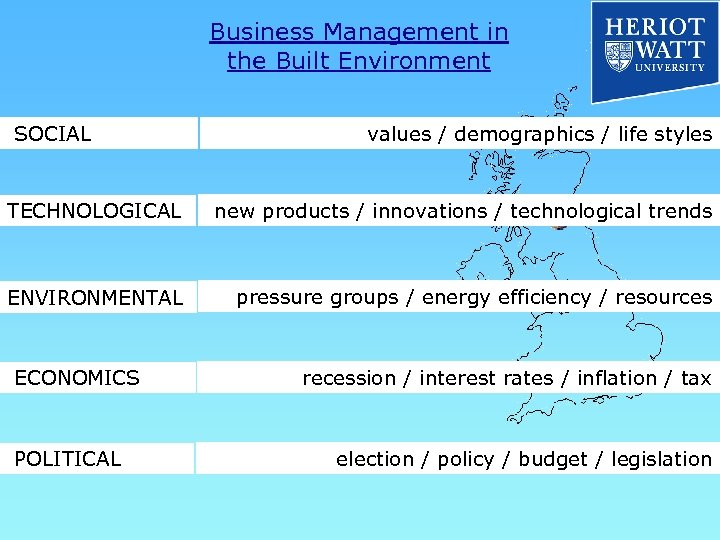 Business Management in the Built Environment SOCIAL values / demographics / life styles TECHNOLOGICAL