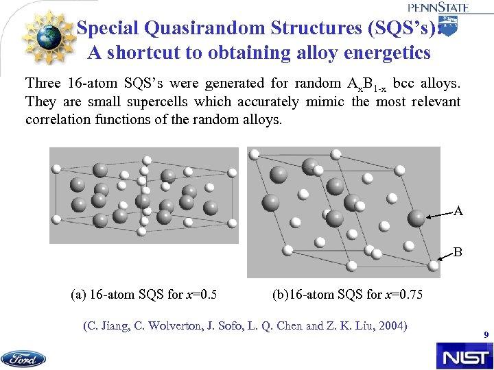 Special Quasirandom Structures (SQS's): A shortcut to obtaining alloy energetics Three 16 -atom SQS's