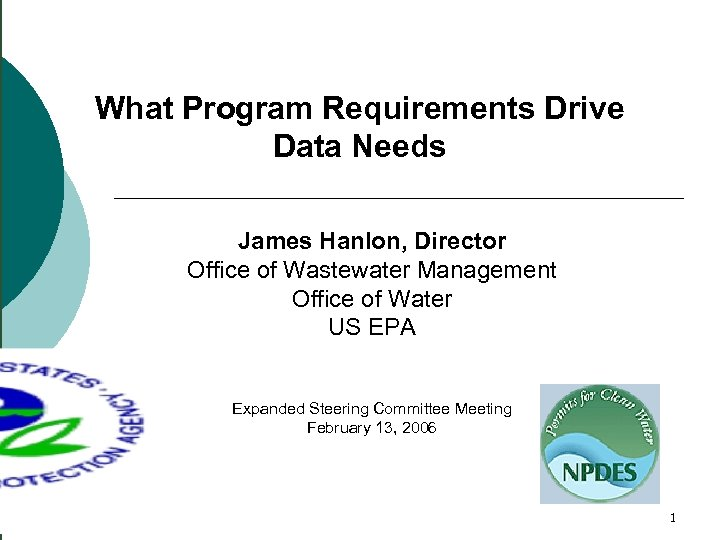 What Program Requirements Drive Data Needs James Hanlon, Director Office of Wastewater Management Office