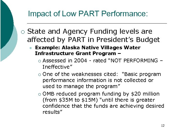 Impact of Low PART Performance: ¡ State and Agency Funding levels are affected by