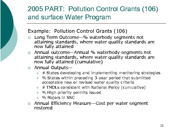 2005 PART: Pollution Control Grants (106) and surface Water Program Example: Pollution Control Grants