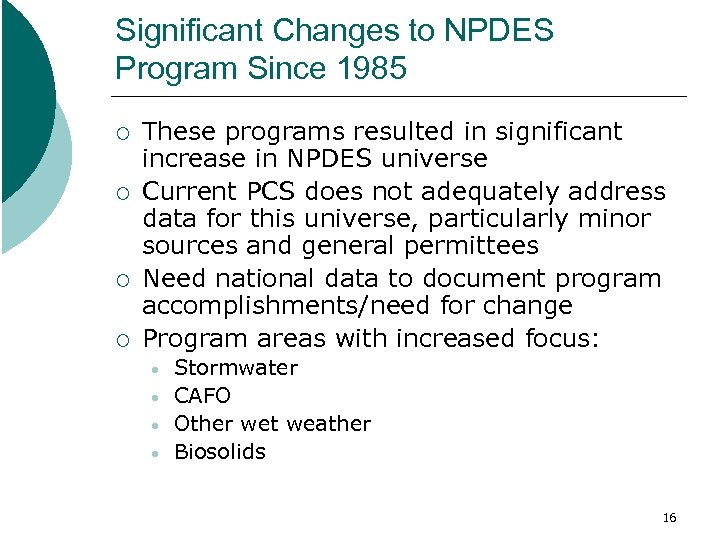 Significant Changes to NPDES Program Since 1985 ¡ ¡ These programs resulted in significant