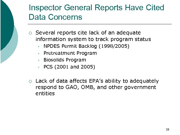 Inspector General Reports Have Cited Data Concerns ¡ Several reports cite lack of an