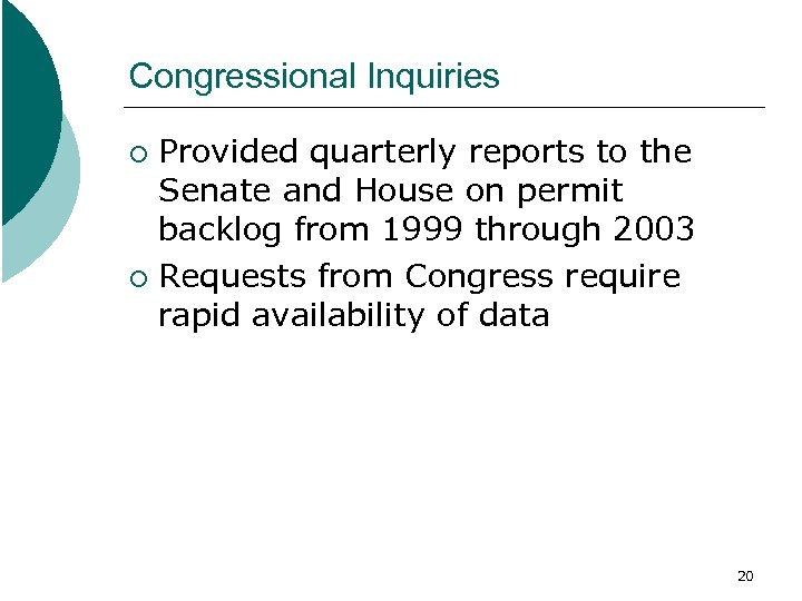 Congressional Inquiries Provided quarterly reports to the Senate and House on permit backlog from