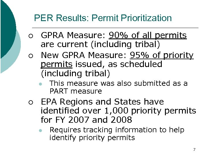PER Results: Permit Prioritization ¡ ¡ GPRA Measure: 90% of all permits are current