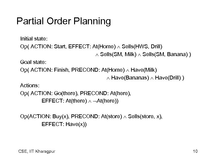 Partial Order Planning Initial state: Op( ACTION: Start, EFFECT: At(Home) Sells(HWS, Drill) Sells(SM, Milk)