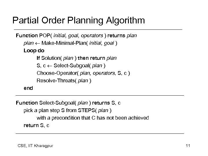 Partial Order Planning Algorithm Function POP( initial, goal, operators ) returns plan Make-Minimal-Plan( initial,