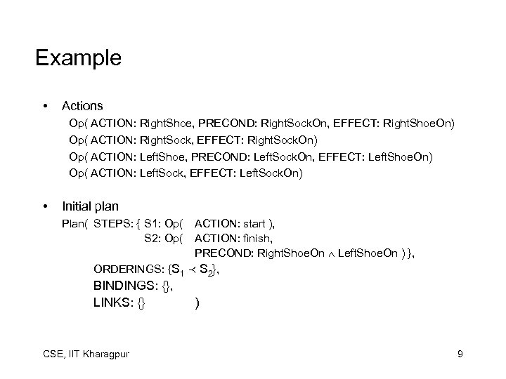 Example • Actions Op( ACTION: Right. Shoe, PRECOND: Right. Sock. On, EFFECT: Right. Shoe.