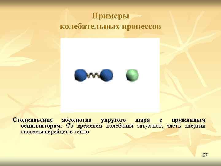 Примеры колебательных процессов Столкновение абсолютно упругого шара с пружинным осциллятором. Со временем колебания затухают,