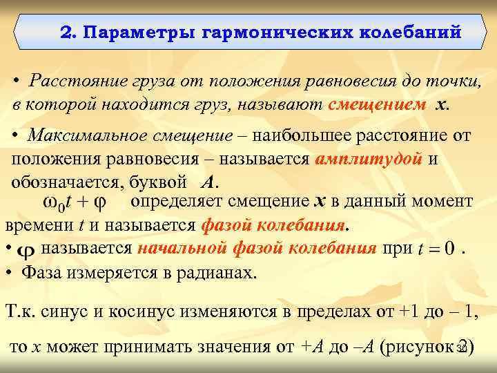 2. Параметры гармонических колебаний • Расстояние груза от положения равновесия до точки, в которой