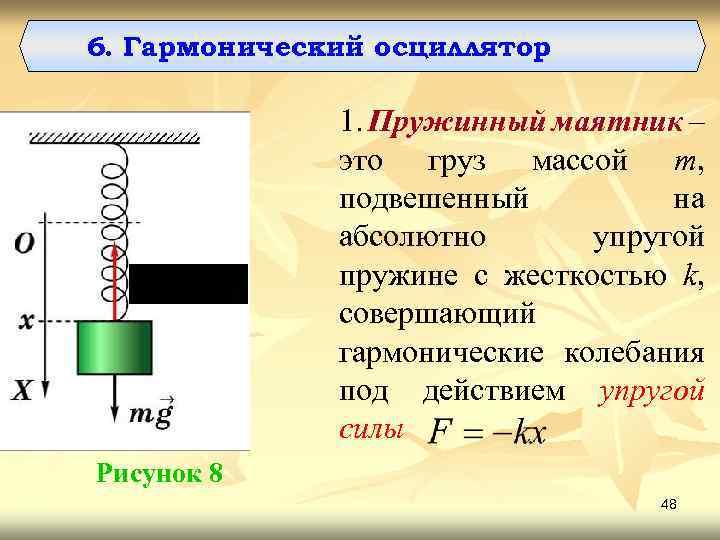 6. Гармонический осциллятор 1. Пружинный маятник – это груз массой m, подвешенный на абсолютно