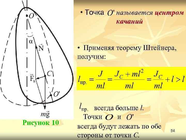 • Точка называется центром качаний • Применяя теорему Штейнера, получим: Рисунок 10 всегда