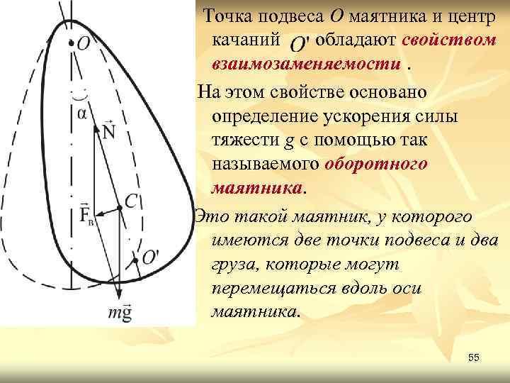 Точка подвеса О маятника и центр качаний обладают свойством взаимозаменяемости. На этом свойстве основано