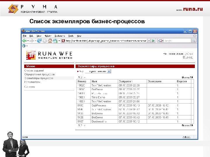 Список экземпляров бизнес-процессов