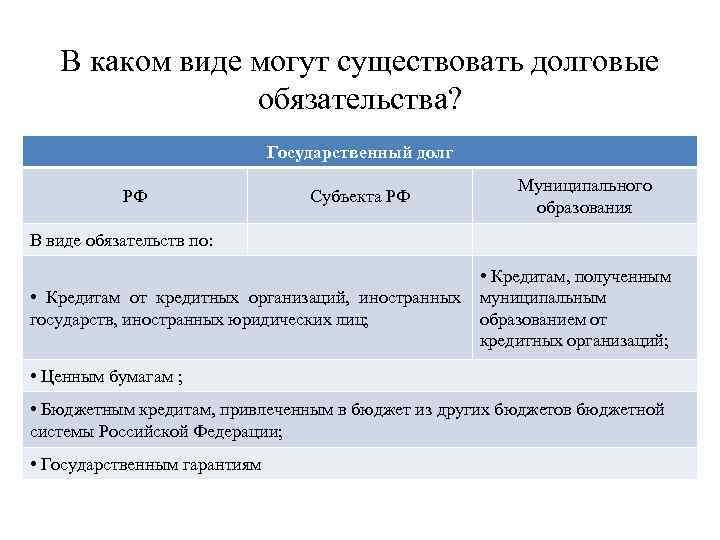 В каком виде могут существовать долговые обязательства? Государственный долг РФ Субъекта РФ Муниципального образования