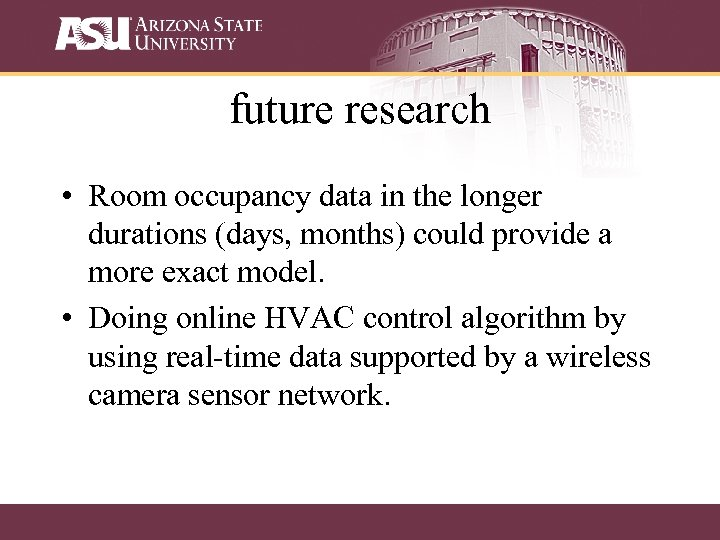 future research • Room occupancy data in the longer durations (days, months) could provide