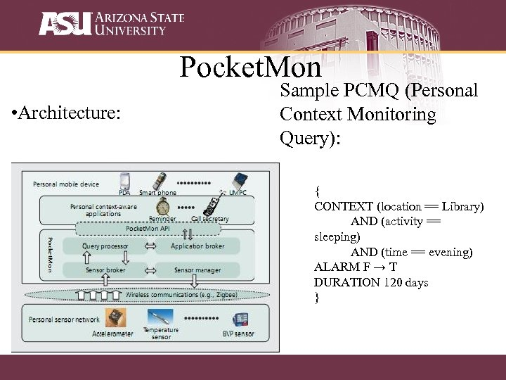 Pocket. Mon • Architecture: Sample PCMQ (Personal Context Monitoring Query): { CONTEXT (location ==