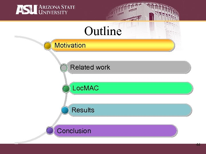 Outline Motivation Related work Loc. MAC Results Conclusion 46