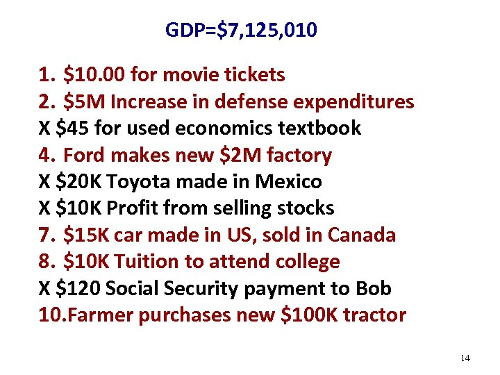 GDP=$7, 125, 010 1. $10. 00 for movie tickets 2. $5 M Increase in