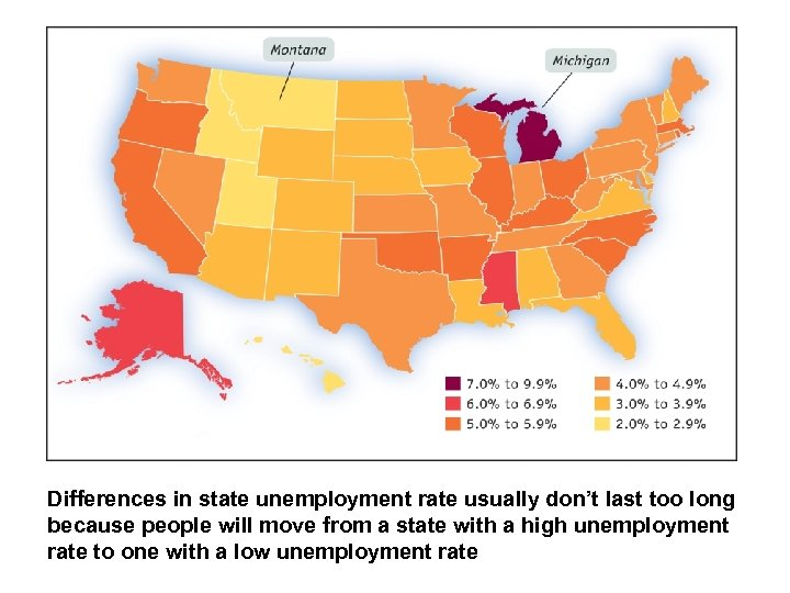 Differences in state unemployment rate usually don't last too long because people will move