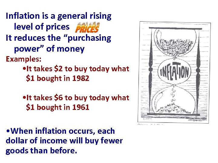"""Inflation is a general rising level of prices It reduces the """"purchasing power"""" of"""