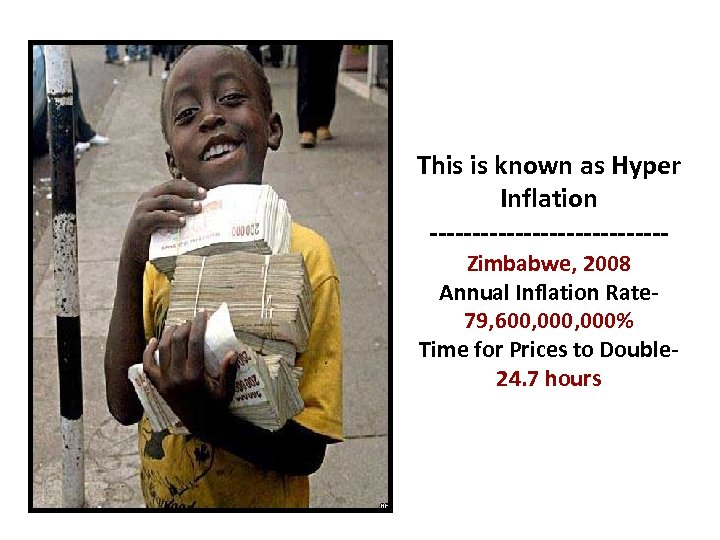 This is known as Hyper Inflation --------------Zimbabwe, 2008 Annual Inflation Rate 79, 600, 000%