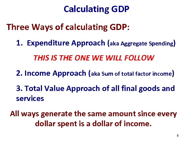 Calculating GDP Three Ways of calculating GDP: 1. Expenditure Approach (aka Aggregate Spending) THIS