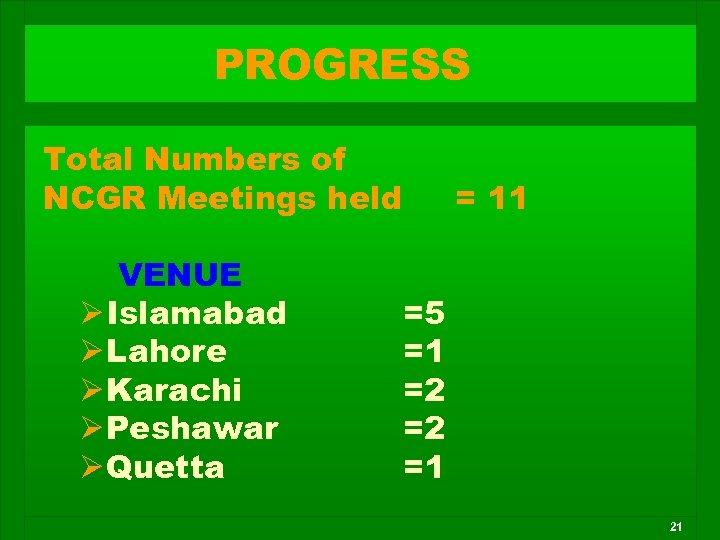 PROGRESS Total Numbers of NCGR Meetings held VENUE Ø Islamabad Ø Lahore Ø Karachi