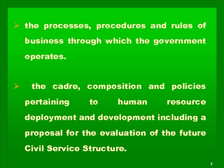 Ø the processes, procedures and rules of business through which the government operates. Ø