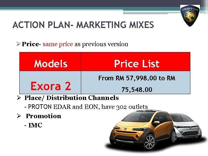 ACTION PLAN- MARKETING MIXES Ø Price- same price as previous version Models Exora 2