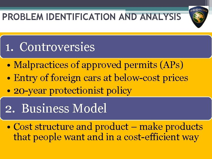 PROBLEM IDENTIFICATION AND ANALYSIS 1. Controversies • Malpractices of approved permits (APs) • Entry