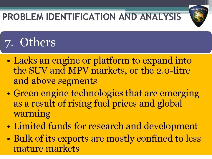 PROBLEM IDENTIFICATION AND ANALYSIS 7. Others • Lacks an engine or platform to expand