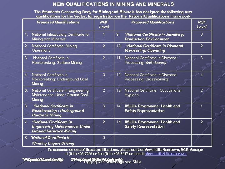 NEW QUALIFICATIONS IN MINING AND MINERALS The Standards Generating Body for Mining and Minerals