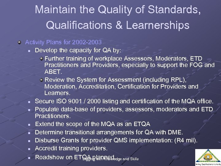 Maintain the Quality of Standards, Qualifications & Learnerships Activity Plans for 2002 -2003 n