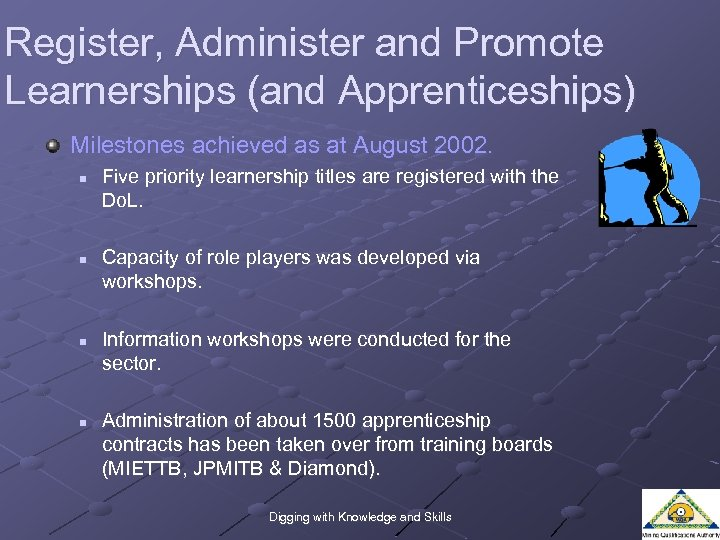 Register, Administer and Promote Learnerships (and Apprenticeships) Milestones achieved as at August 2002. n